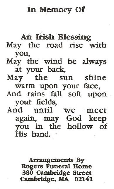 Traditional irish funeral prayer